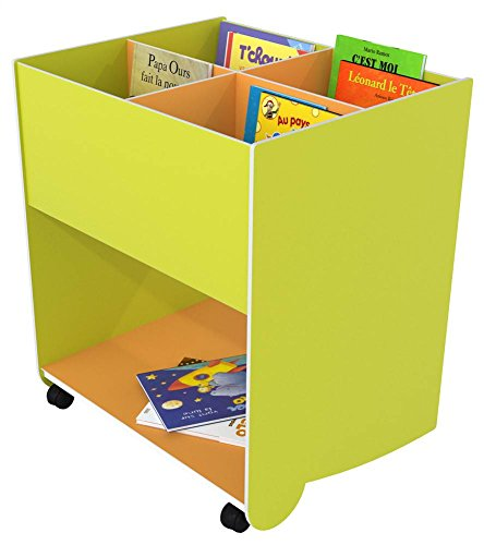 Paperflow Mobile 4-Section Book Browser, Green/Orange, Extra Large (764.08)
