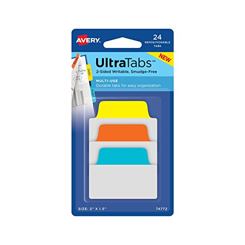 Avery Multiuse Ultra Tabs, 2 x 1.5, 2-Side Writable, Blue/Orange/Yellow, 24 Repositionable Tabs (74772)