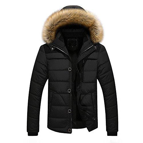 (Men Outdoor Hooded Coat, Sunyastor Warm Winter Thick Jacket Faux Fur Lined Hooded Coat Zipper Pocket Outerwear)