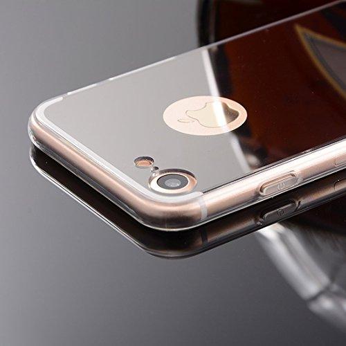 Meimeiwu TPU Spiegel Hülle Mirror Case Schutzhülle Silikon Case Schlank Handy Cover für Apple iPhone 7 - Gold
