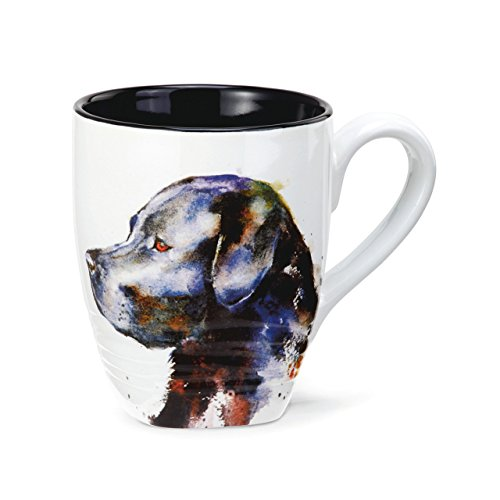 - DEMDACO Black Lab Watercolor Black On White 12 Ounce Glossy Stoneware Mug With Handle