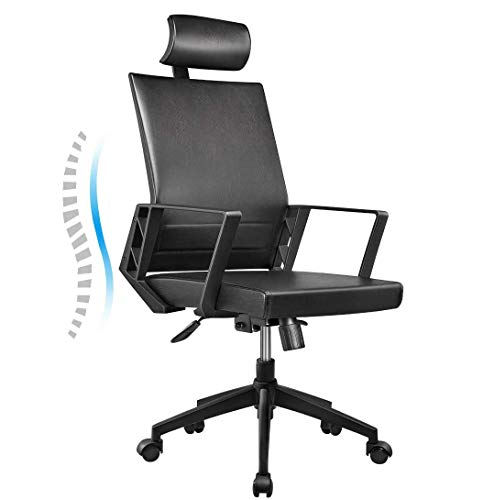 Office Chair High Back Leather Executive Computer Desk Chair, Adjustable Tilt Angle Headrest Lumbar Support Ergonomic Swivel Chair (Black)