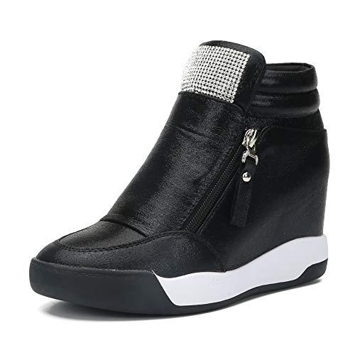 (LIURUIJIA Women Hidden Wedges Ankle Boots Fashion Sneaker High Top Flats Platform Casual Black)