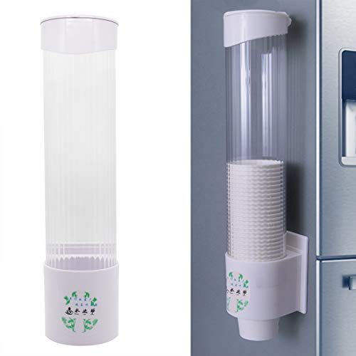Water Cup Dispenser Wall Mounted Anti Dust Plastic Dispenser Disposable Cup Holder Rack for Paper Cups, 7.6cm 60 Cups