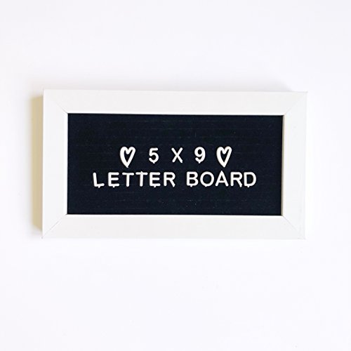9 x 5 Small Mini Changeable Letter Board White Wood Frame Tiny Little Black Felt Message Sign, Vintage Classroom Announcement Word Bulletin + 183 Unique Plastic Characters Set For Menu (Little Bulletin Board Sets)