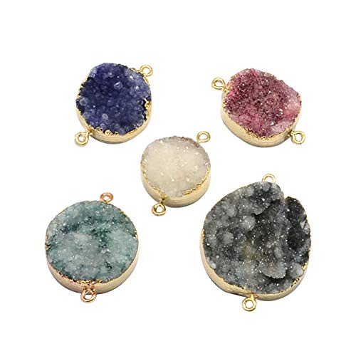 - ARRICRAFT 5pcs Plated Natural Druzy Agate Links Necklace Pendants Gemstone Charms Connector for Necklace Bracelet Jewelry Making