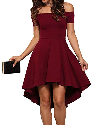 Women's Summer Off Shoulder Blouses Short Sleeves Sexy Tops Chiffon Ruffles Casual T Shirt (XL, Z Wine Cocktail Skater Dress)