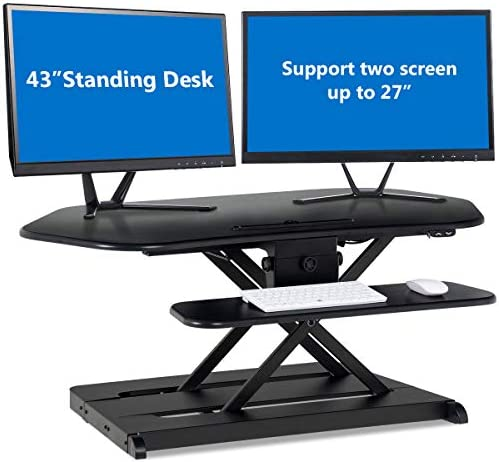 Tangkula 43 Electric Standing Desk, Height Adjustable Desktop Convertor, Sit to Stand Desk Power Riser Converter Desktop Fit Dual Monitors 2-Tier Design with Removable Keyboard Tray Deck