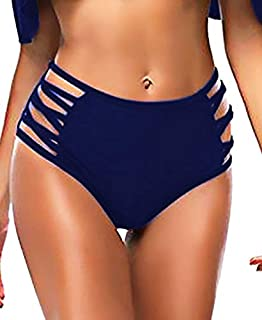 0be47068966f4 Retro High Waist Strappy Bikini Bottoms for Women, Lace Up String Side  Swimming Brief,