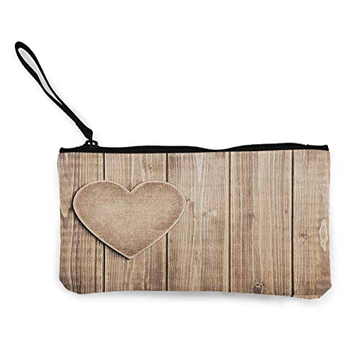 - Valantines Day,Coin Purse Wallet Rustic Heart over Wooden Planks Background Corner Romantic Valentines Celebration W 8.5