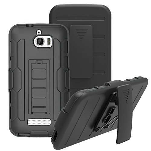 (Coolpad Defiant 3632 Case, Telegaming Heavy Duty Shock Absorption Impact Resistant Hybrid Rugged Case With Belt Clip Holster Cover For Coolpad Defiant 3632 Black)