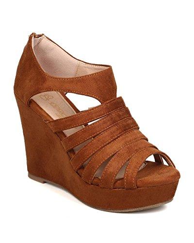 DbDk FB31 Women Faux Suede Peep Toe Caged Platform Wedge Sandal - Camel (Size: 7.5) Peep Toe Suede Platforms