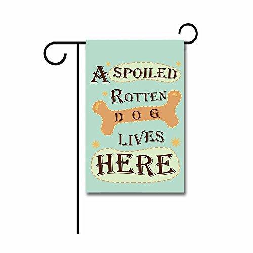 KafePross A Spoiled Rotten Dog Lives Here Garden Flag Cute Puppy Bone Home Decor Banner for Outside 12.5
