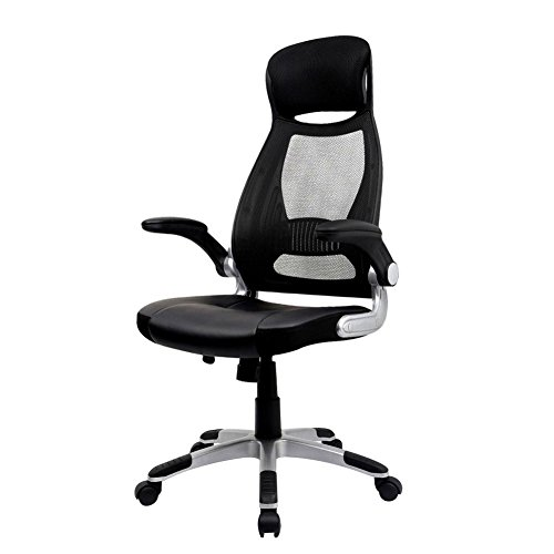 IntimaTe WM Heart Black Ergonomic Mesh High Back Padded Office Chair With Foldable Armrest & Head Support Height Adjustable Swivel Task Desk Chair