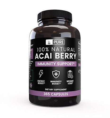 All-Natural Acai Berry |365 Capsules |90-Day Supply |No Magnesium Filler, Potent Antioxidant, Gluten-Free, Vegetarian, Made in US, 1000mg of Raw & Undiluted Acai Berry Extract per Serving