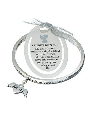 Jewelry Nexus Silver-tone Angel Friends Blessings Angel Heart Charm Bracelet & Bookmark ()