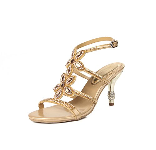 Heel Glitter amp; Rhinestone Club Buckle Open Shoes Mid Wedding for Evening A Party Toe Women's Sandals Summer Chain qzZnwUY