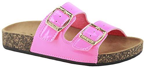 ANNA Footwear Women's Casual Buckle Straps Sandals Flip Flop Platform Footbed (6.5, Neo Pink Patent)