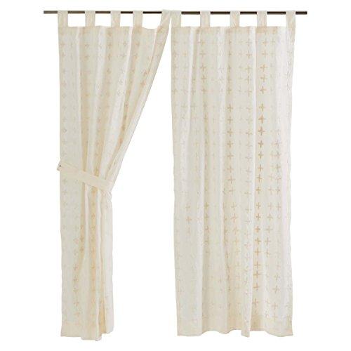 Creme Short (VHC Brands Farmhouse Window Curtains - Willow White Tab Top Short Curtain Panel Pair, Creme)