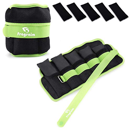 Fragraim Adjustable Ankle Weights 1-12 LBS Pair with Removable Weight for Jogging, Gymnastics, Aerobics, Physical Therapy, Resistance Training|Each 1.2-6 lbs, Total 12LBS, Green