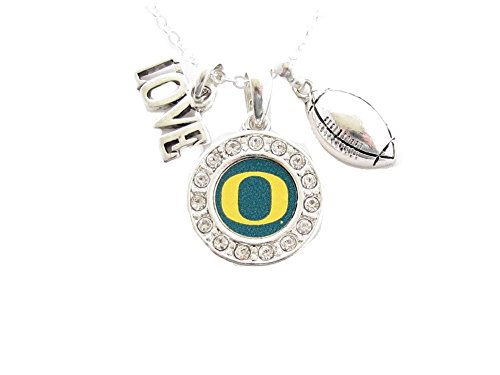 Oregon Ducks Multi Charm Love Football Green Silver Necklace Jewelry UO ()