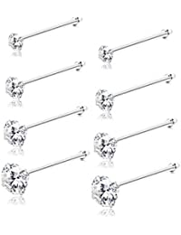 8Pcs 22G Sterling Silver Nose Rings Studs Round Czech Crystal Nose Body Piercing Jewelry Hypoallergenic 1.5mm 2mm 2.5mm 3mm