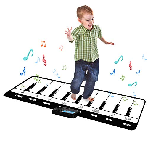 Kids Piano Mat, Keyboard Play Mat, Floor Piano Mat for Kids, Musical Piano Mat has 8 Musical Instruments, Record, Playback, Demo, Play, Best Birthday Christmas Day Gifts for Girls, Boys,Children