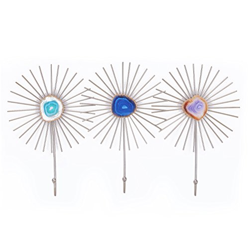 Home's Art 21 inch Starburst Metal Wall Decoration Hooks for hanging, Wall hanger, Set of 3 (Three Metal Art Of Set Wall)