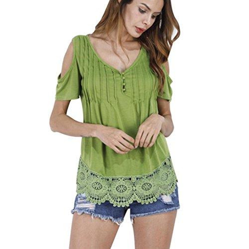 Ouneed Mujer manga corta cuello v camisa de encaje Tops casual verano blusa Verde