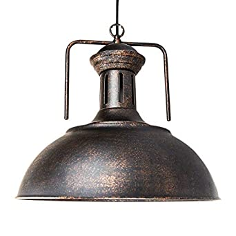 Vintage Industrial Pendant Light, MKLOT 12.99 Nautical Barn Hanging Lamp with Rustic Dome Shape Mounted Chandelier Lighting Fixture in Copper 1-Light with Chain