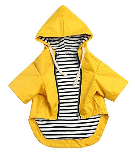 (Morezi Dog Zip Up Dog Raincoat with Hood, Rain/Water Resistant, Adjustable Drawstring, Pocket Design, Stylish Premium Dog Raincoats - Size XS to XXL Available - Yellow - M)
