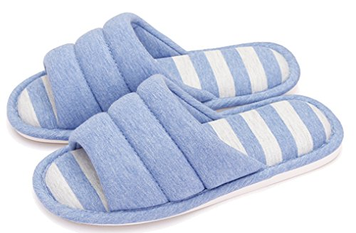 Blubi Womens Stripes Open Toe Breathable Flax House Slippers Summer Slippers Blue xCS9y