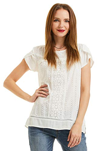 SONJA BETRO Women's Cotton Eyelet Lace Trim Short Sleeve Tunic Top ()
