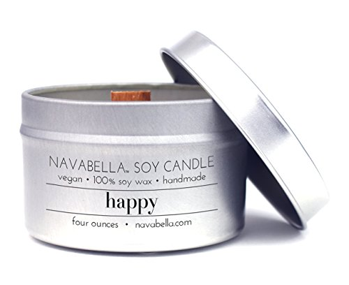 Travel Candle - Navabella Aroma Wellness 100% Soy Candle - Happy: Infused w/Potent Peach, Raspberry + Clove Oils to Reduce Anxiety + Fight Depression - Handmade in Micro Batches w/Wood (Reduce Wax)