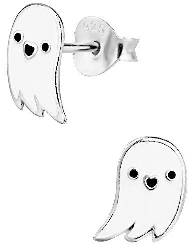 Hypoallergenic Sterling Silver Halloween Jewelry Ghost Stud Earrings for Kids (Nickel Free)