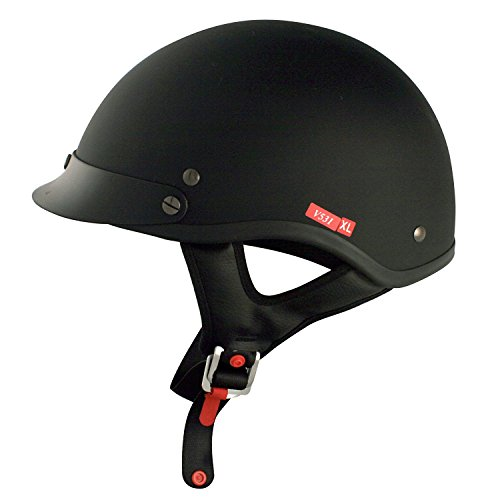 VCAN V5 Cruiser Solid Flat Black Half Face Motorcycle Helmet (XX-Large) ()