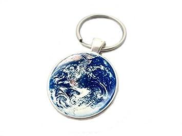 Llavero, llavero, diseño de planeta tierra llavero colgante ...