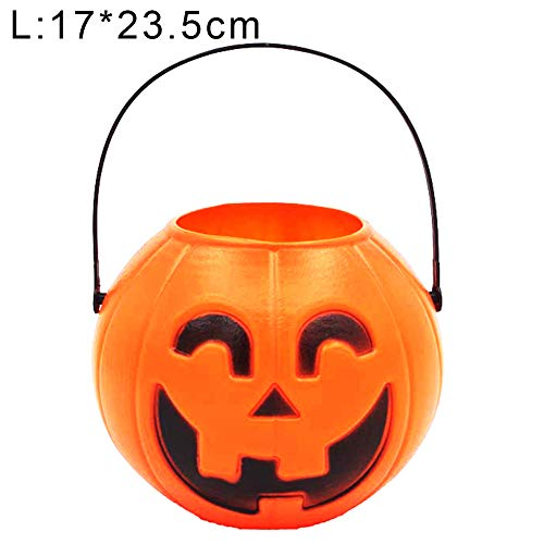 LIANHEXIN Halloween Pumpkin Candy Holder Trick-or-Treat Bucket Basket Pail Party Decor Storage Container with Handle for Kids Adults -