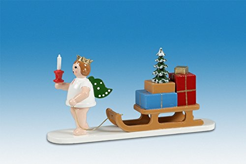 Engelfigur Engel mit Schlitten mit Krone Höhe ca 6 cm NEU Holzengel Weihnachtsengel Erzgebirge Holz