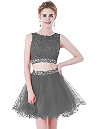 Womens Two Pieces Short Prom Gowns Beaded Homecoming Dresses H021