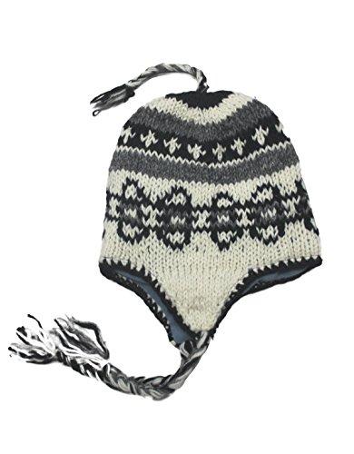 Sherpa Designs Hand Knit Unisex WOOL Beanie Hat Ear Flap Fleece Lined Nepal (Oval)