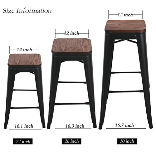 """Changjie Furniture 24"""" High Backless Metal Bar Stool for Indoor-Outdoor Kitchen Stackable Counter Bar Stools Set of 4 (24 inch, Black with Wooden Top)"""