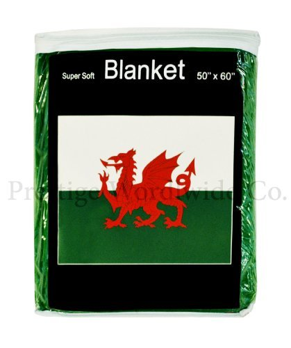 Welsh Flag Fleece Blanket 5 ft x 4.2 ft. Throw Cover Flag of Wales Bedding Baner Cymru Y Ddraig Goch