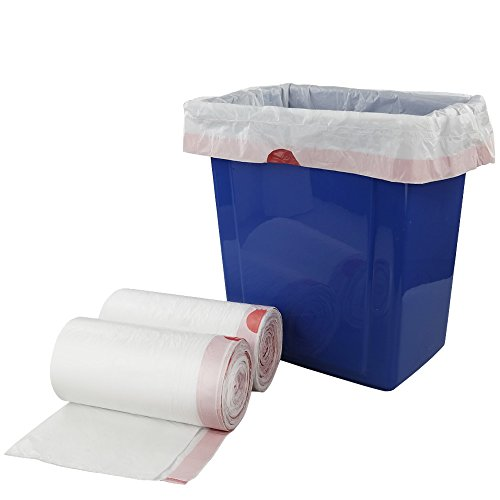 Price comparison product image Doryh 8 Gallon White Drawstring Trash bags,  2 Rolls / 120 Counts,  F