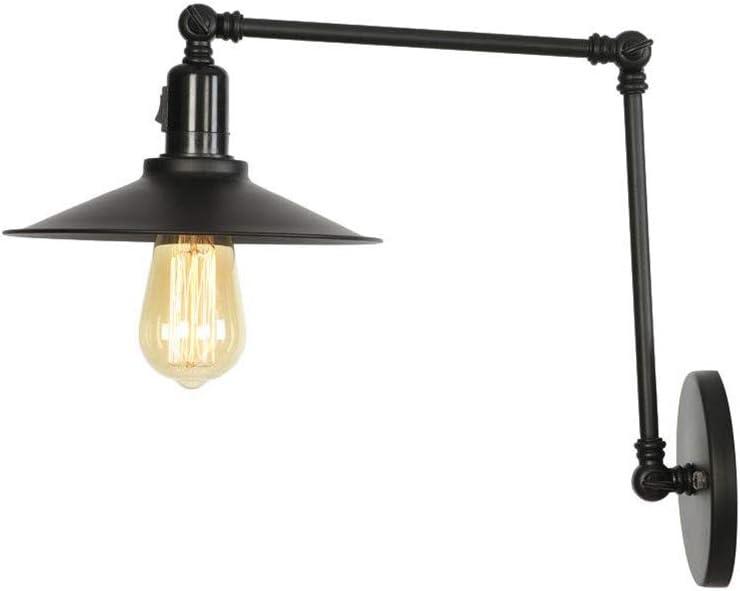 Jsyuany Lámpara de pared de brazo largo Luz de pared vintage plegable ajustable E27 Aplique de pared industrial retro Hierro Iluminación Lámpara de pasillo loft iluminación decorativa