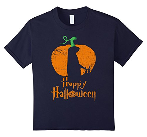 Prairie Girl Costume Ideas (Kids PRAIRIE in Pumpkin Happy Halloween T-shirt Vintage 12 Navy)