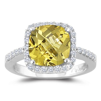 0.33 Cts Diamond & 1.75 Cts Yellow Beryl Ring in 14K White Gold-9.0 ()