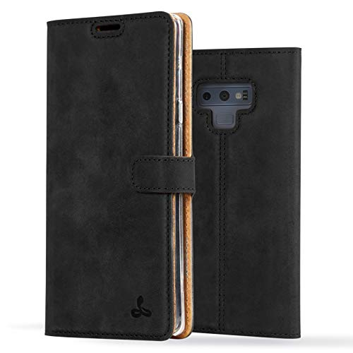 Samsung Galaxy Note 9 Case, Luxury Genuine Leather Wallet with Viewing Stand and Card Slots, Flip Cover Gift Boxed and Handmade in Europe by Snakehive for Samsung Galaxy Note 9- (9 Shock Absorber)