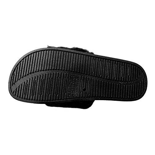 Q-Plus Women Open Toe Fuzzy Furry Faux Fur Rubber Soles Platform Flip Flop Slip-On Sandals Black 3laPpmr