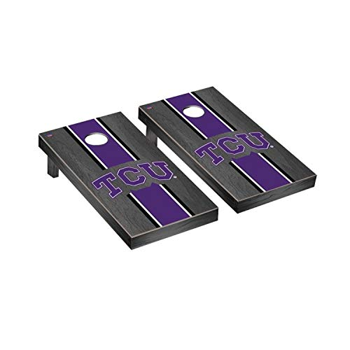 Victory Tailgate Regulation Collegiate NCAA Onyx Stained Stripe Series Cornhole Board Set - 2 Boards, 8 Bags - Texas Christian University TCU Horned Frogs